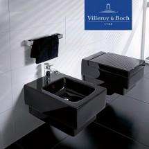 Vas WC V&B - Memento in consola cu capac, Glossy Black